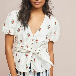 NEW Maeve Rosalie floral white embroidered top